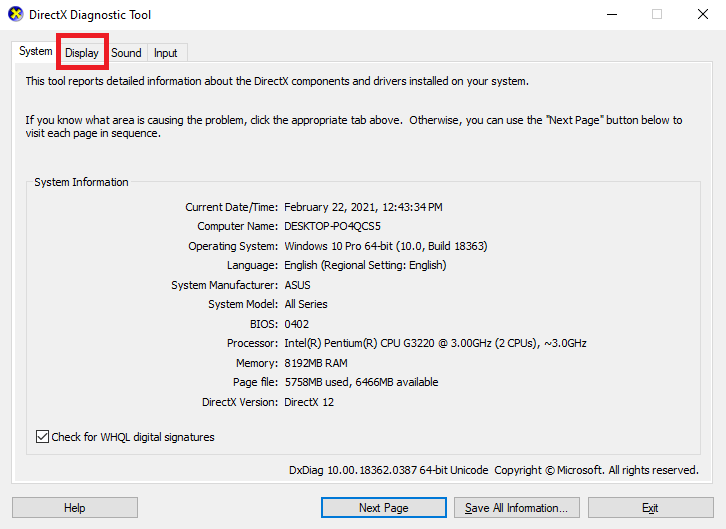 DirectX-Diagnosetool
